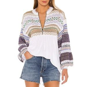 Free People Sweater Pullover Zip Cottage Cozy